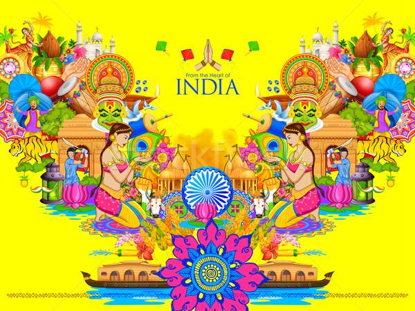 Hindistan kültür çeşitlilik örnek dans Stok fotoğraf © vectomart