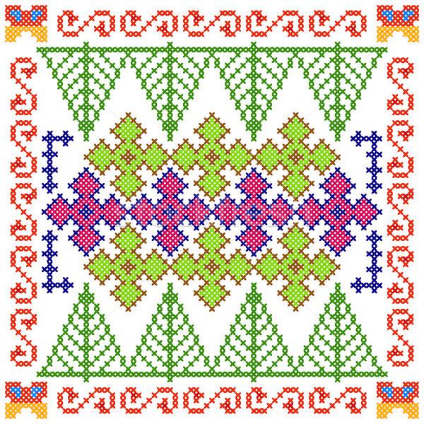 крест стежка вышивка цветочный дизайна Сток-фото © vectomart