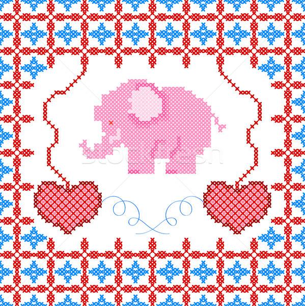 クロス ステッチ 刺繍 デザイン テクスチャ ストックフォト © vectomart