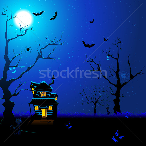 Scary Nacht Illustration Haus unter Stock foto © vectomart