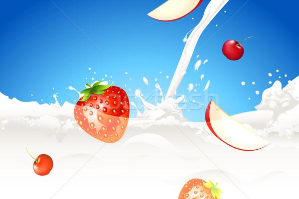 Alimentos saludables ilustración frutas leche resumen Foto stock © vectomart