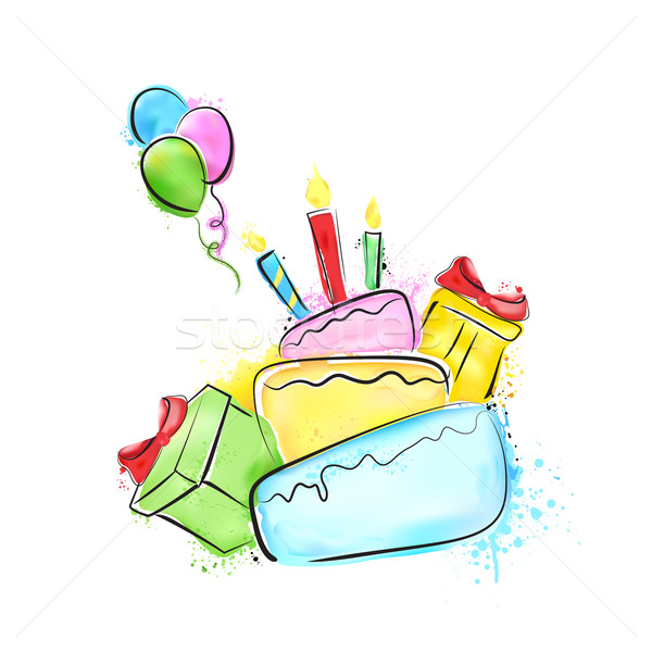 Joyeux anniversaire peinture illustration cadeaux gâteau alimentaire Photo stock © vectomart