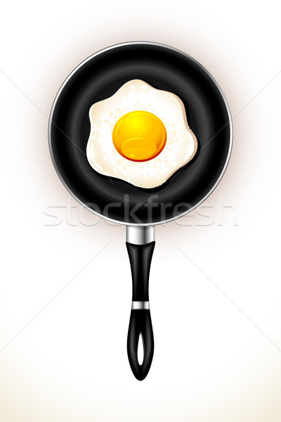 Stock photo: Fried Egg in Frying Pan