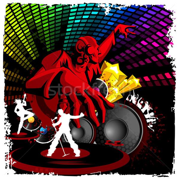 Diszkó zsoké játszik zene illusztráció musical Stock fotó © vectomart