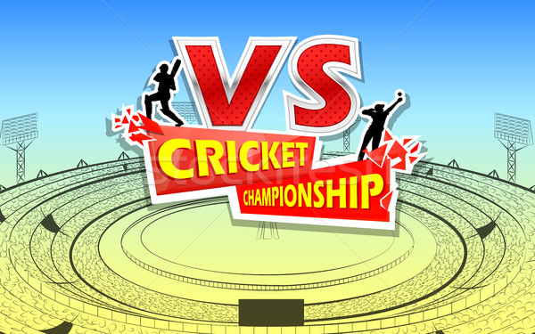 Stadium of Cricket with pitch and VS versus text Stock photo © vectomart