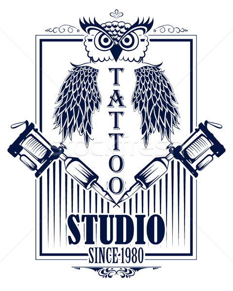 Tattoo art design of Owl bird with tattooing machine Stock photo © vectomart