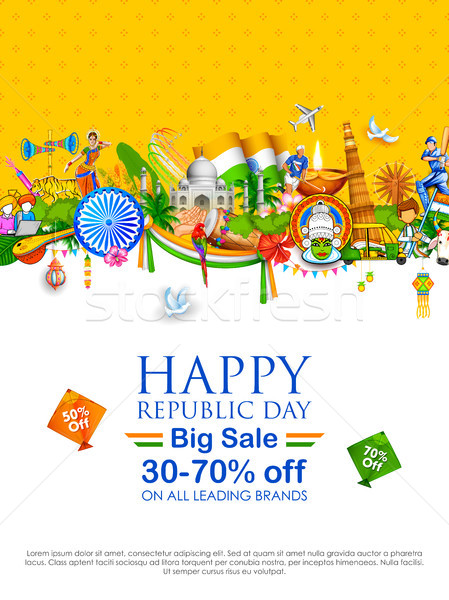 Tricolor banner with Indian flag for 26th January Happy Republic Day of India Stock photo © vectomart
