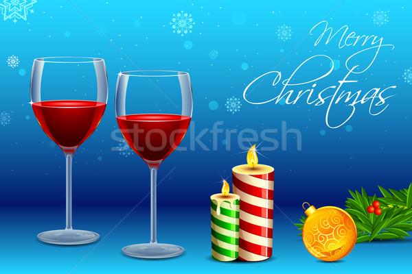 Сток-фото: рюмку · свечу · Рождества · иллюстрация · декоративный · мяча