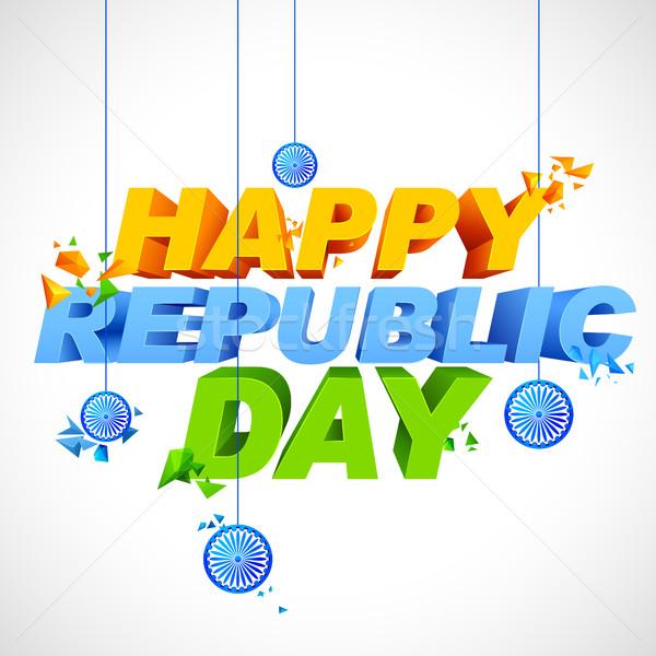 триколор счастливым республика день Индия иллюстрация Сток-фото © vectomart