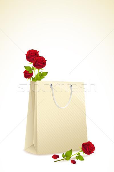 Roses in Shopping Bag Stock photo © vectomart