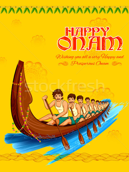 Snakeboat race in Onam celebration background for Happy Onam festival of South India Kerala Stock photo © vectomart