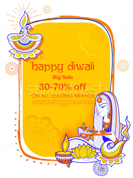 Stock photo: Lady burning diya on Happy Diwal Holiday Sale promotion advertisement background for light festival