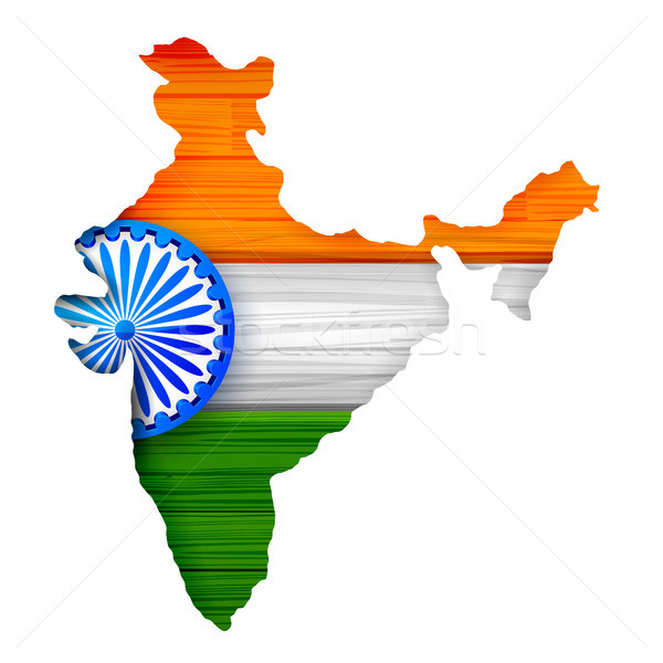 Tricolor Indian Flag map background for Republic and
