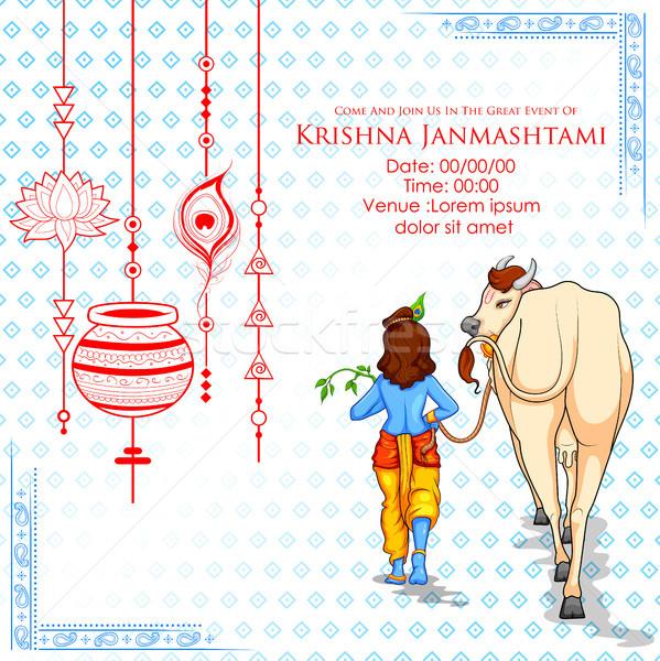 Krisna boldog fesztivál India illusztráció tapéta Stock fotó © vectomart