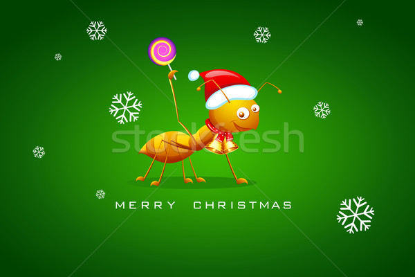 Hangya ünnepel karácsony illusztráció mikulás sapka Stock fotó © vectomart