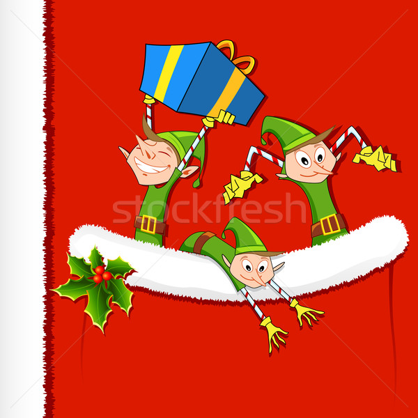 Elf geschenken zak illustratie partij Stockfoto © vectomart