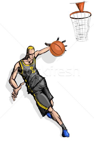 Mand bal speler illustratie springen sport Stockfoto © vectomart