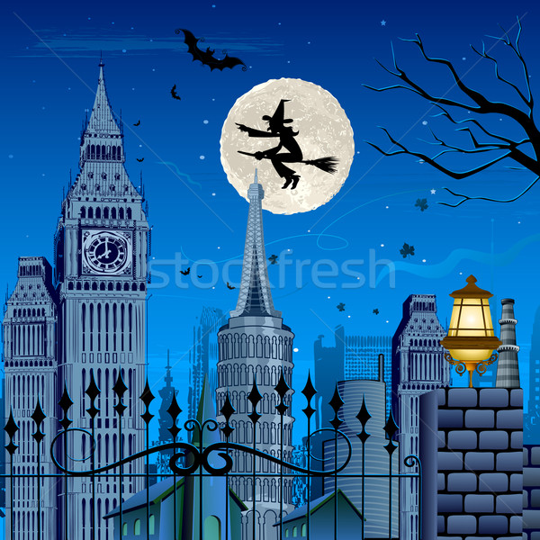 Witch flying on Halloween Night Stock photo © vectomart
