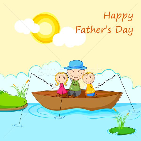 Ninos padre barco pesca ilustración agua Foto stock © vectomart