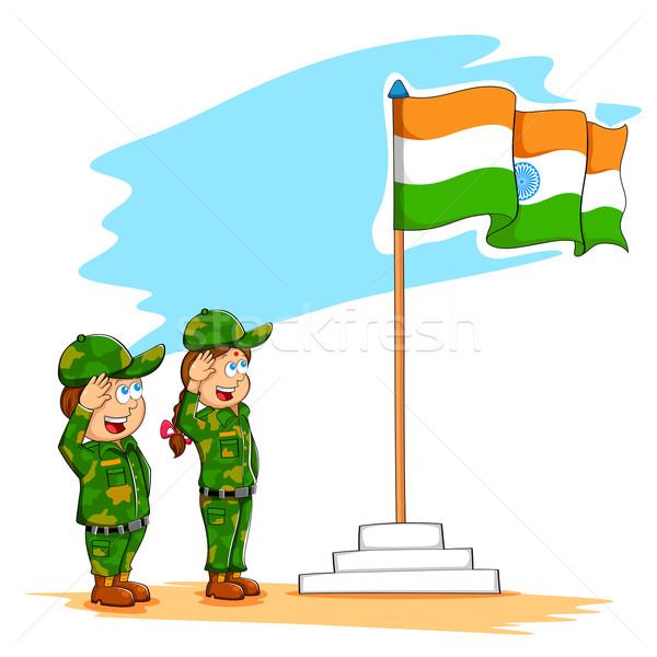 Kids saluting Indian flag Stock photo © vectomart