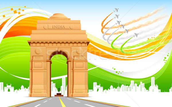 Hindistan kapı üç renkli örnek soyut bayrak Stok fotoğraf © vectomart