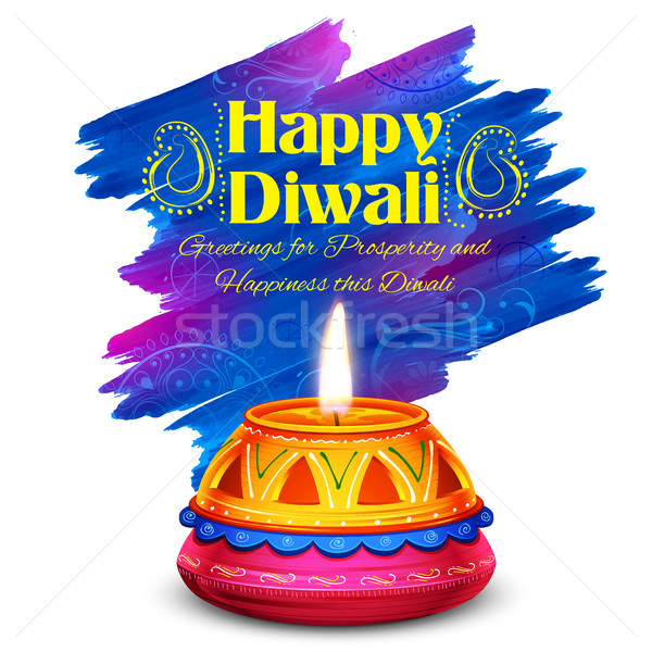 Stock photo: Burning watercolor diya on happy Diwali Holiday background for light festival of India