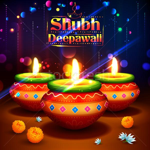 счастливым Дивали акварель свет фестиваля Индия Сток-фото © vectomart
