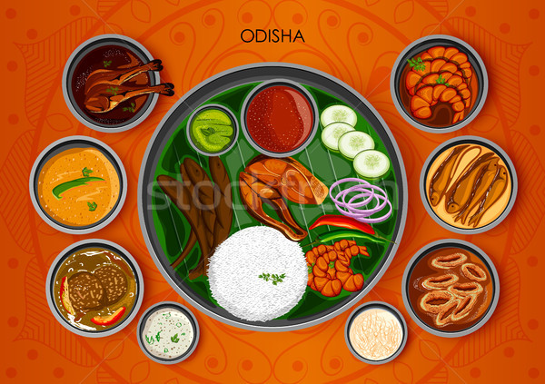 Traditional cuisine and food meal thali of Odisha India Stock photo © vectomart