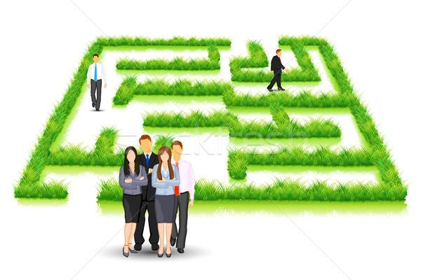 Business puzzel illustratie zakenlieden lopen gras Stockfoto © vectomart