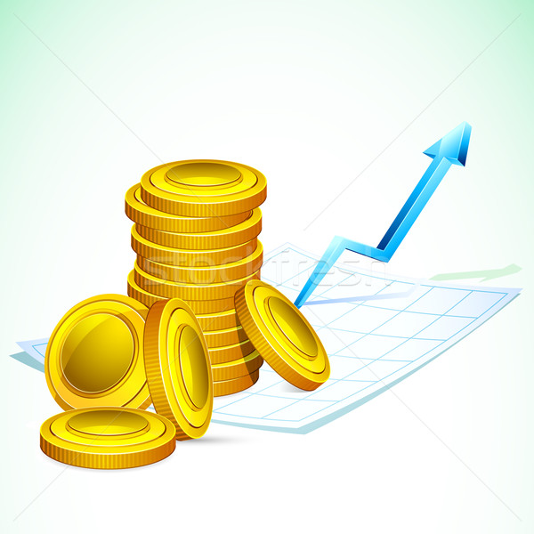 Gold Coin on Graph Paper Stock photo © vectomart