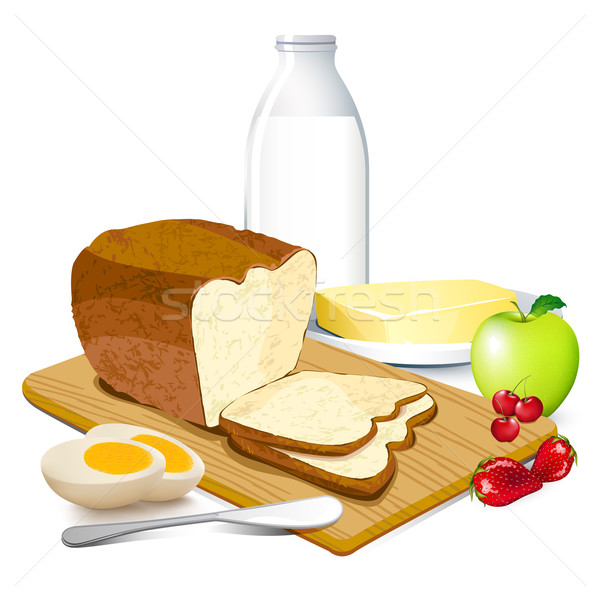 Ontbijt illustratie maaltijd koffie brood drinken Stockfoto © vectomart