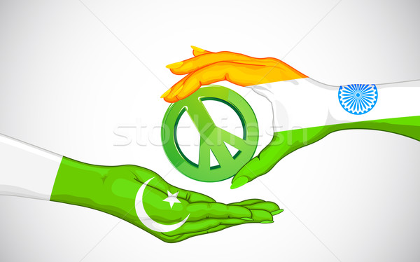 Barış Hindistan Pakistan örnek el seyahat Stok fotoğraf © vectomart