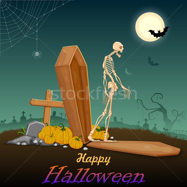 Zdjęcia stock: Halloween · noc · ilustracja · na · zewnątrz · trumna · szczęśliwy