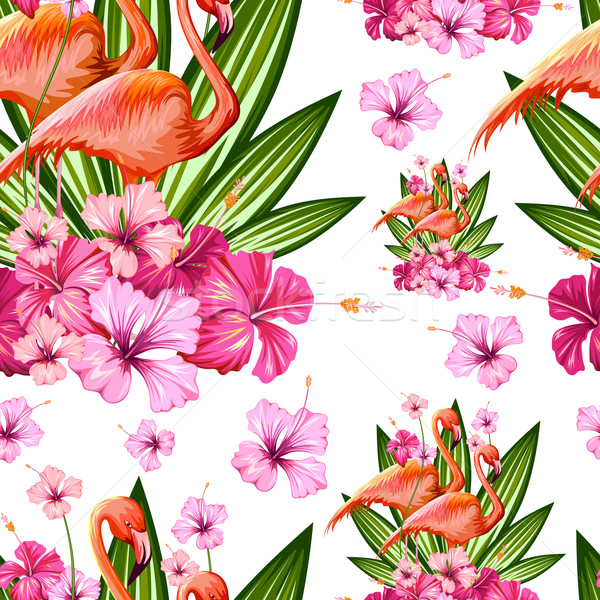 Seamless Pattern with Exotic Tropical Flower and Flamingo Stock photo © vectomart