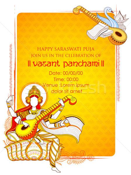 Bogini mądrość Indie festiwalu ilustracja sztuki Zdjęcia stock © vectomart