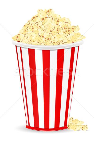 Popcorn ilustracja wiadro pełny biały żywności Zdjęcia stock © vectomart