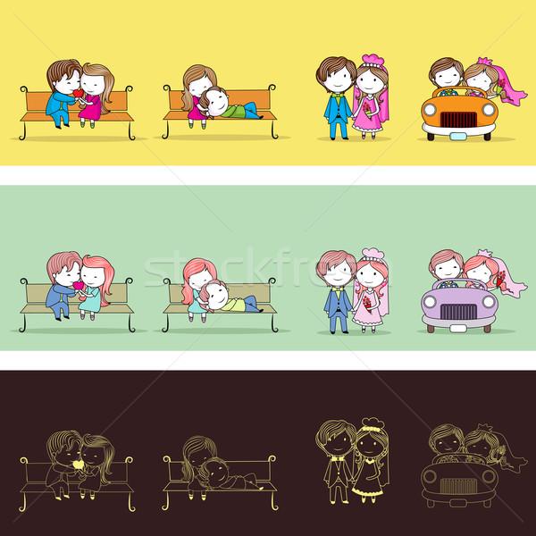 Nouvellement couple illustration différent style Photo stock © vectomart