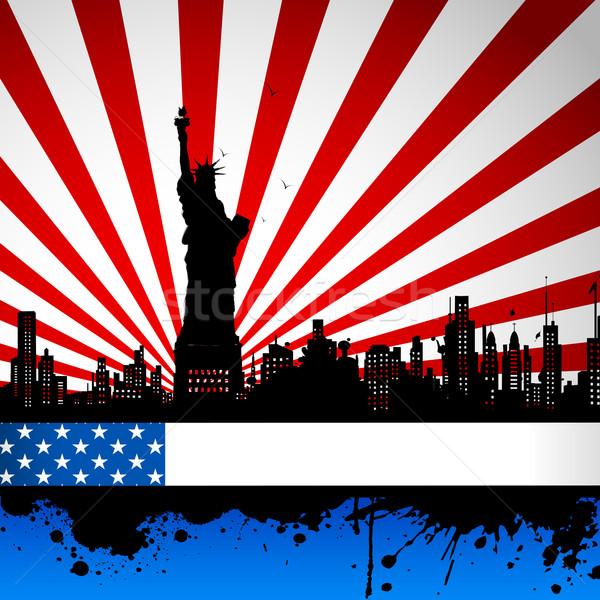 статуя свободы американский флаг фон иллюстрация Мир Сток-фото © vectomart