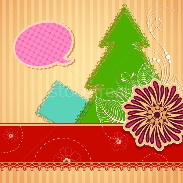 Album na wycinki ilustracja christmas sosna kwiat papieru Zdjęcia stock © vectomart