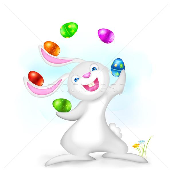 Jongleren Easter Bunny illustratie kleurrijk ei Pasen Stockfoto © vectomart