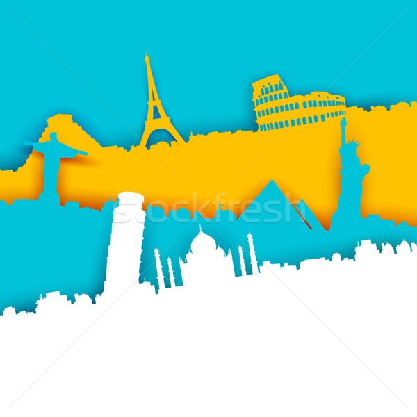 Seyahat örnek dünya ünlü dizayn arka plan Stok fotoğraf © vectomart