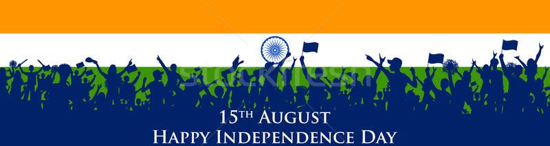 Indio personas tricolor bandera feliz Foto stock © vectomart