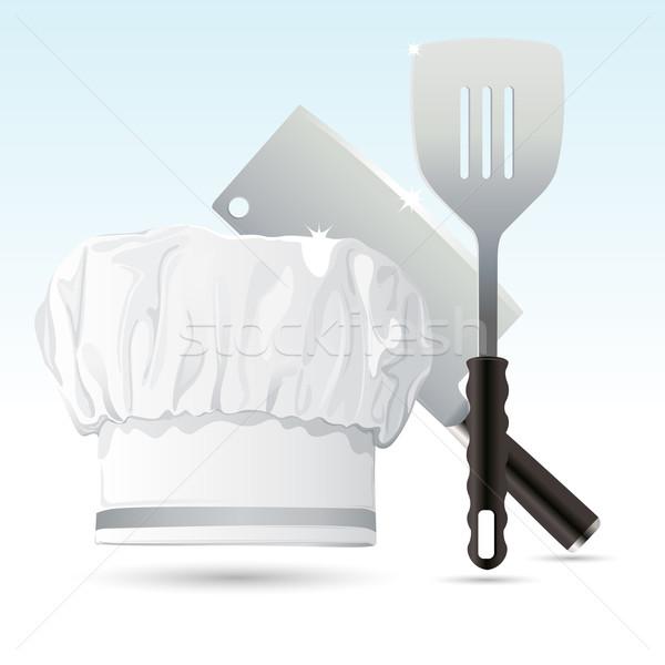 Szakács sapka főzés szerszámok illusztráció kés szedőlapát Stock fotó © vectomart