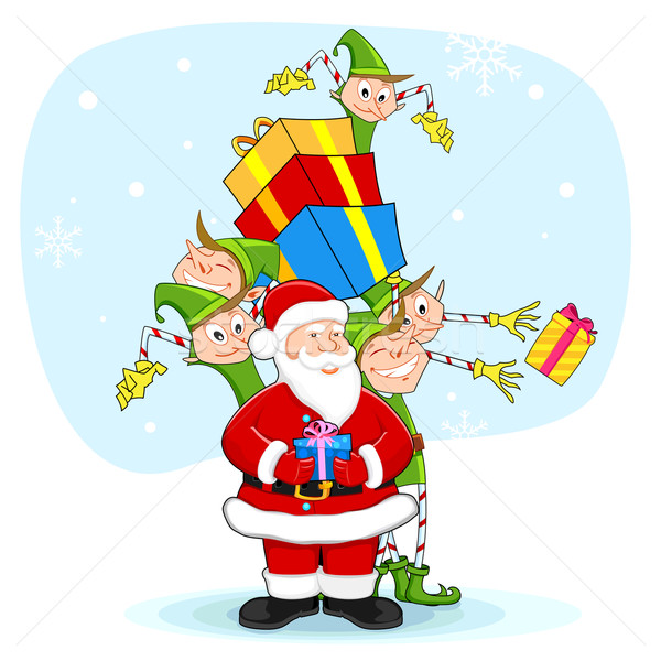 Santa with Elf distrubiting Christmas Gift Stock photo © vectomart