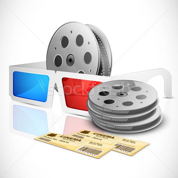 3d Glasses with Movie Ticket and Film reel Stock photo © vectomart