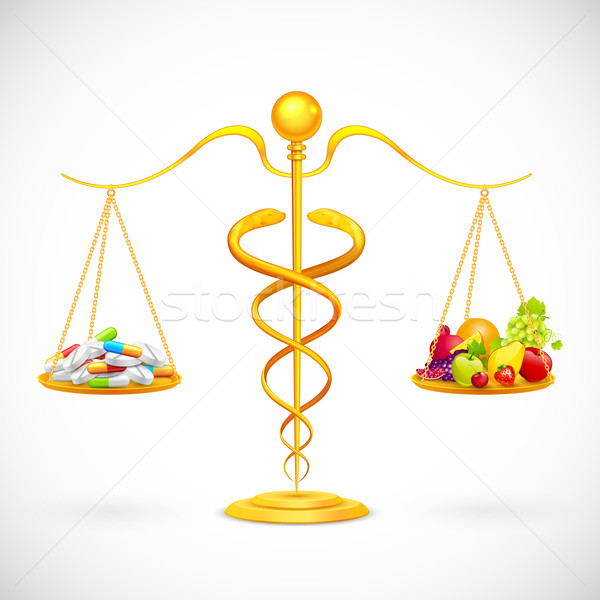 Coparing Fruit and Medical Capsule Stock photo © vectomart