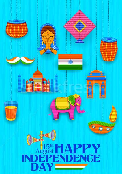 Glücklich Tag Banner Illustration indian Kitsch Stock foto © vectomart