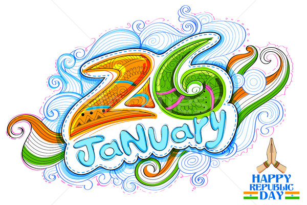 Floral tricolor background for 26th January Happy Republic Day of India Stock photo © vectomart
