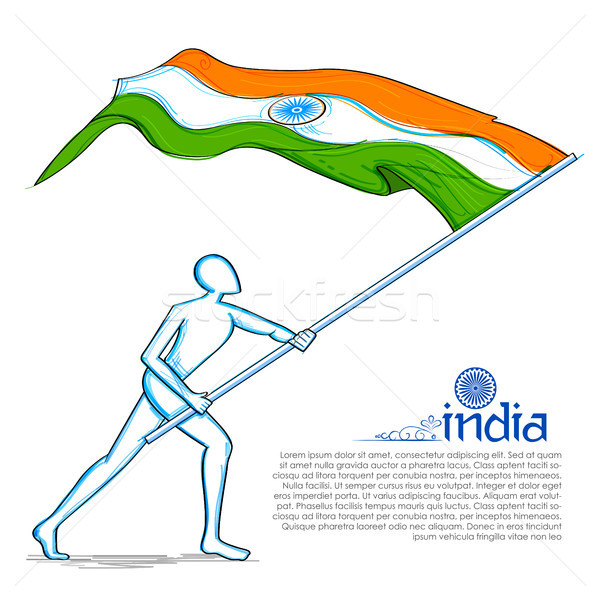 Man hoisting Indian flag celebrating Independence Day of India Stock photo © vectomart