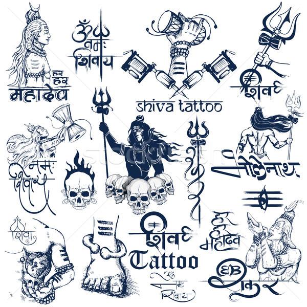 Tetoválás művészet terv Shiva gyűjtemény illusztráció Stock fotó © vectomart